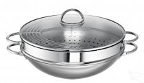 ROHE GERMANY Ravenna Wok z rusztem / garnek do gotowania na parze  36cm 6,00l 203101-36